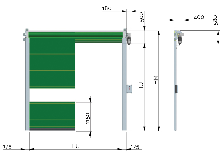 Slim dimensioni porta rapida avvolgimento speedoors - Dimensioni porta ...